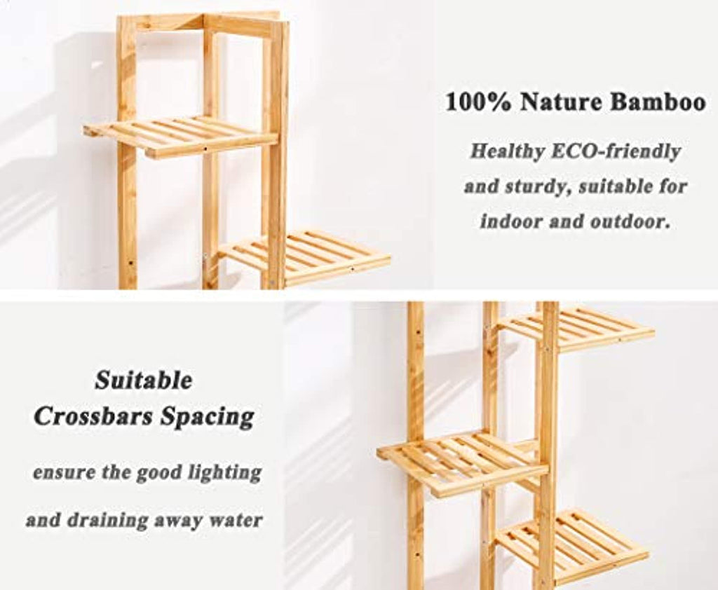 Bamboo 6 Tier 7 Potted Plant Stand Rack Shelf Indoor Outdoor Display Shelving Unit for Patio Garden Corner Balcony Living Room