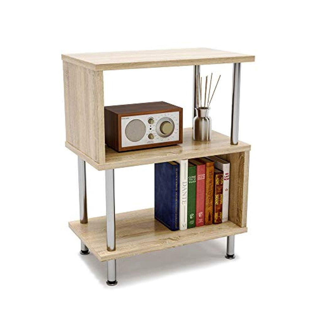 Side Table 3 Tier S Shaped Small Nightstand