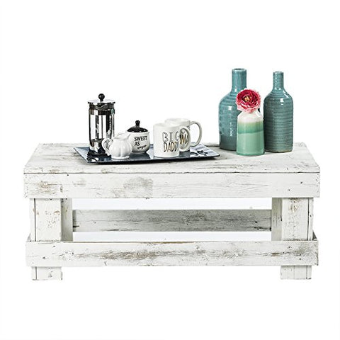 White Rustic Barnwood Coffee Table, USA Handmade Reclaimed Wood