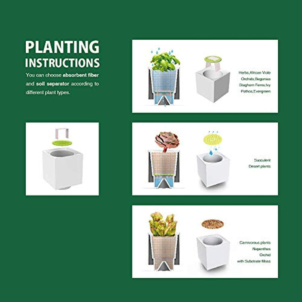 Self Watering Herb Garden Planter Plant Pots Modular Design 3 Pots Plus Base (3-Pot TG-C) - Plants Not Included