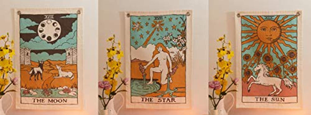 Tarot Flag Tapestry - The Sun, The Moon and The Star - Pack of 3