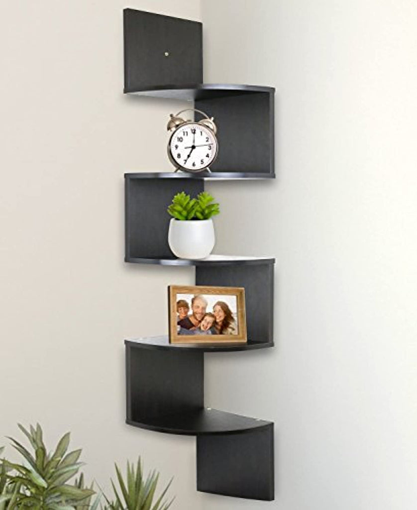 "5 Tier Wall Mount Corner Shelves Espresso Finish , 7.75"" L x 7.75"" W x 48.5"" H."