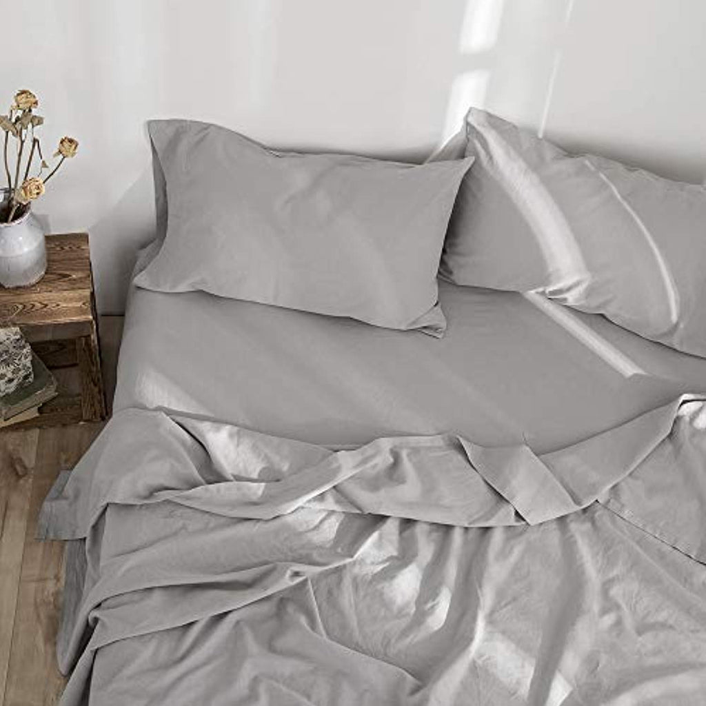Simple & Opulence Belgian Linen Sheet Set 4PCS Stone Washed Solid Color (Grey, 4 Sizes)