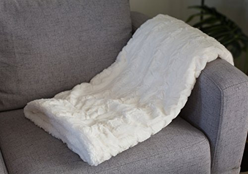 Faux Fur Throw Blanket with White Fleece/Sherpa  | Soft Plush Cream Colored