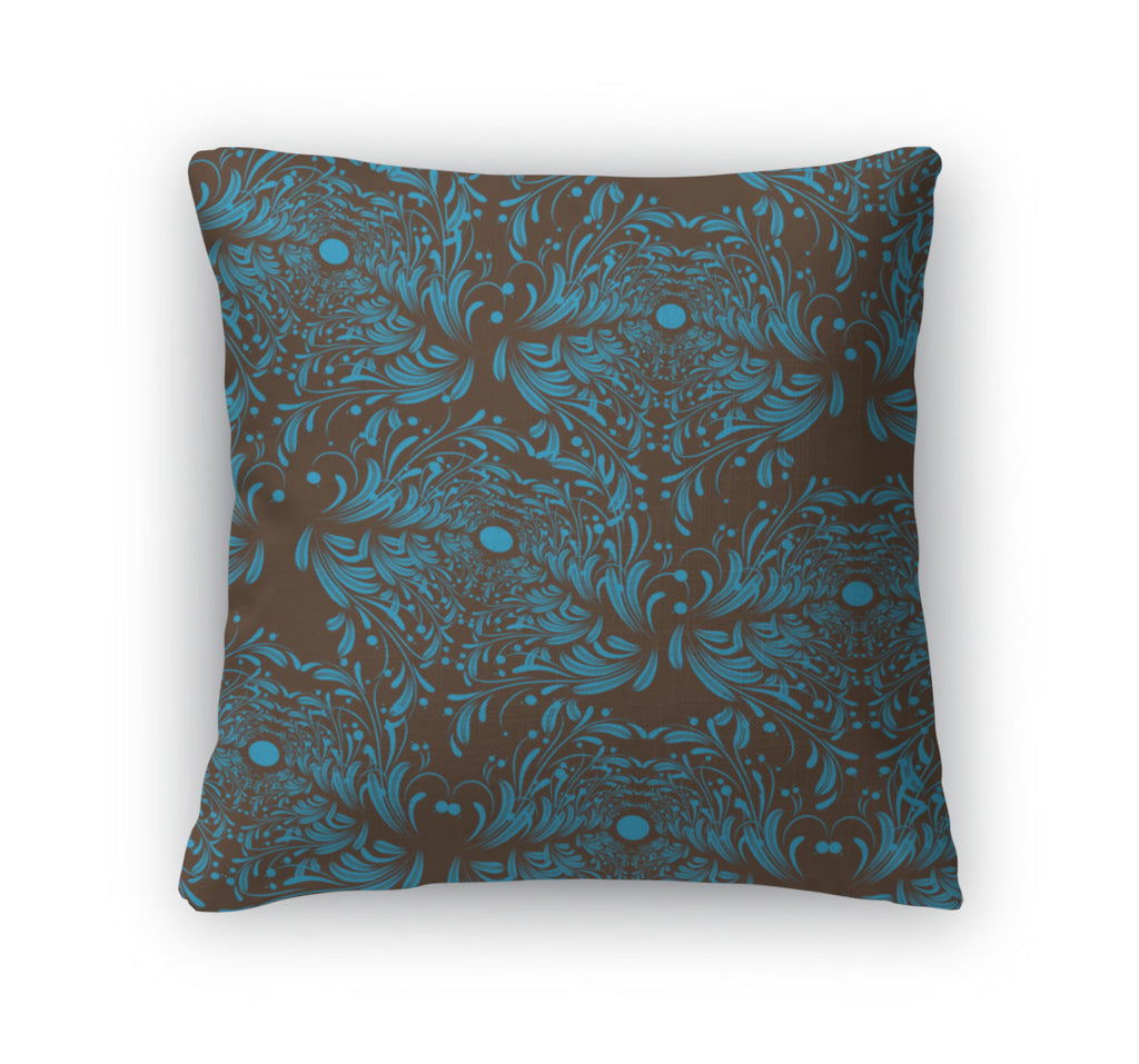 Throw Pillow, Blue And Brown Pattern