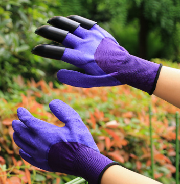 "Garden Gloves with built-in ""claws"" for digging, planting and raking soil."