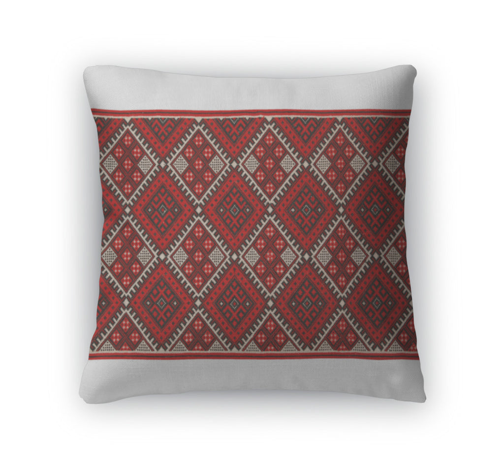 Throw Pillow, Embroidered By Crossstitch Pattern Ukrainian Ethnic Ornament