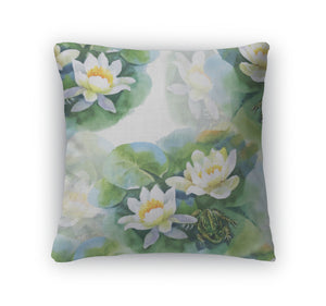 Throw Pillow, White Waterlilly Flowers Pattern