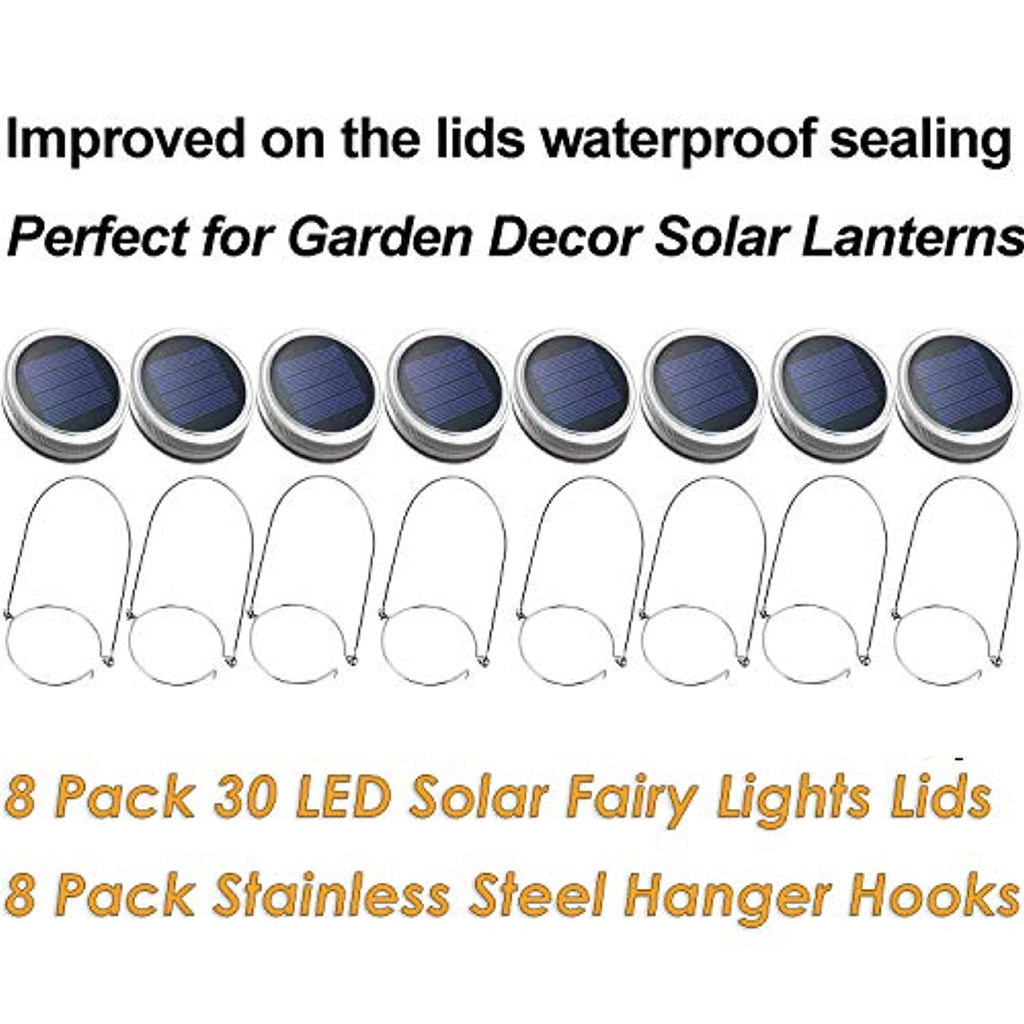 Mason Jar Solar Lantern Lights, 8 Pack 30 LED Bulbs Fairy Star Firefly Solar Lids Jar Lights,8 Hangers Included(No Jars)