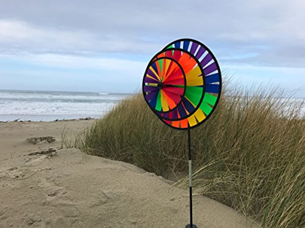 Rainbow Triple Wheel 13 or 14 inch Spinner- Ground Stake Included - Colorful Wind Spinner for your Yard and Garden