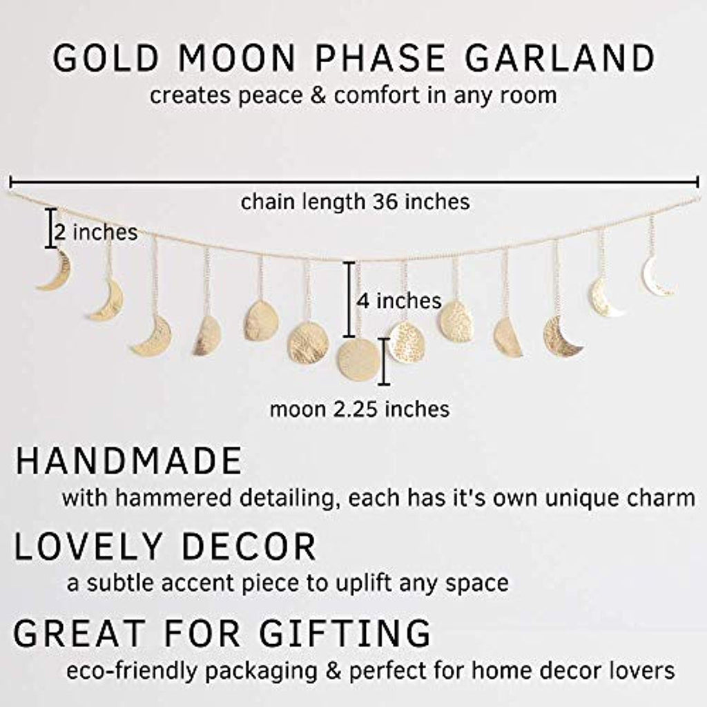 Moon Decor Wall Decorations | Boho Accents | Moon Phases Wall Art Garland