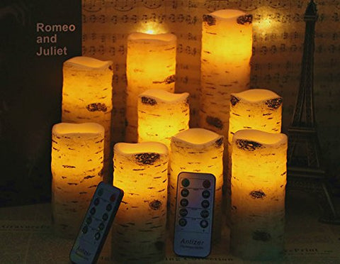 "Flameless Candles Battery Operated Birch Bark Effect 4"" 5"" 6"" 7"" 8"" 9"" Set of 9 Ivory Real Wax Pillar LED Candles with 10-Key Remote Control 2/4/6/8 Hours Timer"