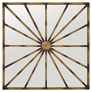 Sunburst Lines Hanging Wall Mirror Decor, 20 Inch Height, Antique Gold Finish