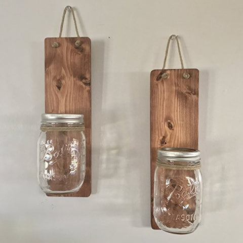 Handcrafted Set of Two Country Rustic Hanging Mason Jar Wall Sconces