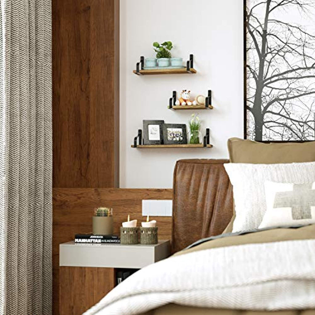 Floating Shelves Wall Mounted Set of 3, Rustic Wood Wall Storage Shelves for Bedroom, Living Room, Bathroom, Kitchen, Office and More --Choice of four colors