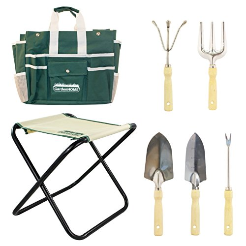 Folding Stool with Tool Bag and 5 Garden Tool Set
