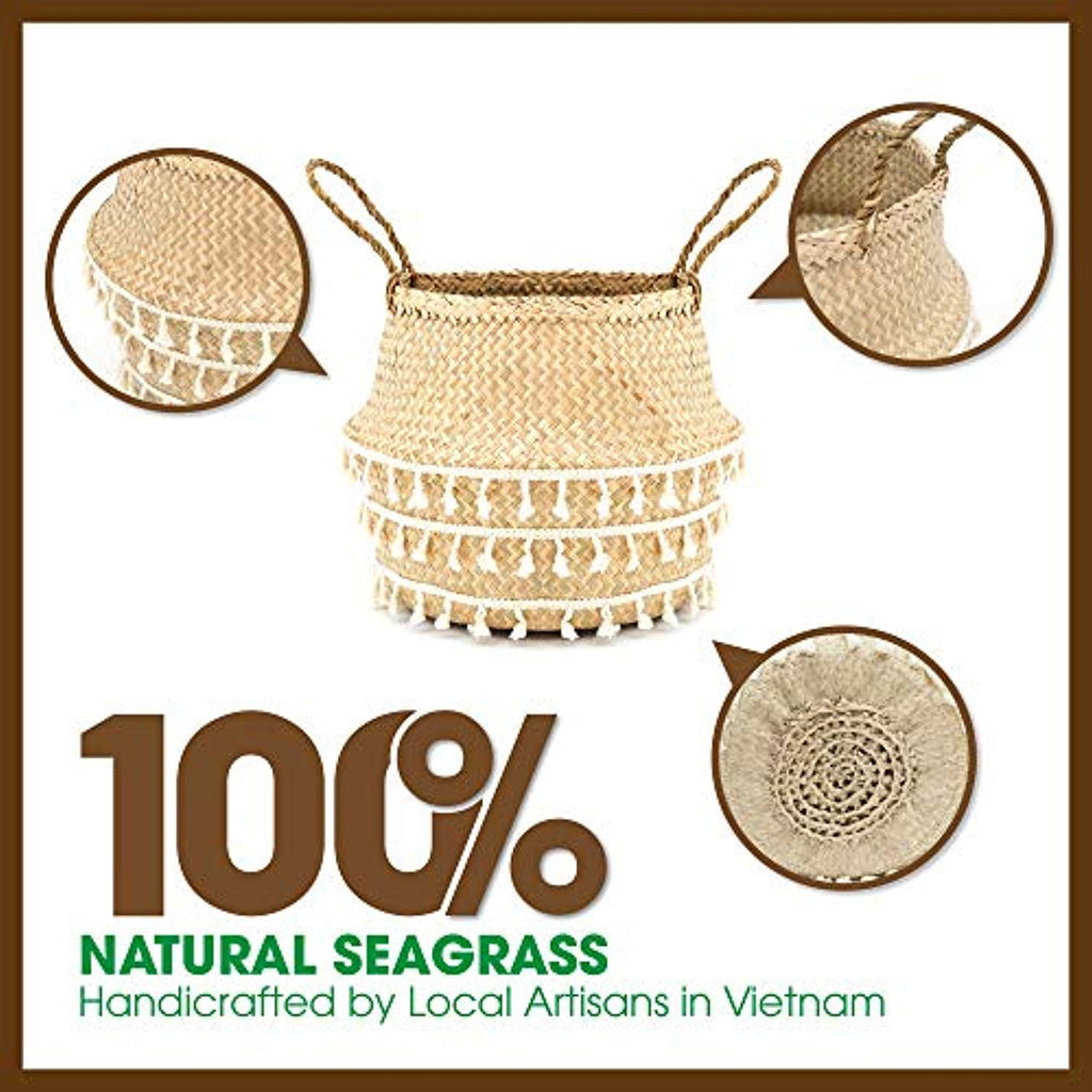Natural & Net Woven Seagrass Belly Plant Basket with Handles--2 Sizes