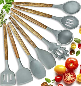 Silicone Cooking Utensils Kitchen Utensil Set - 8 Natural Acacia Wooden Silicone Kitchen Utensils Set - Silicone Utensil Set Spatula Set - Silicone Utensils Cooking Utensil Set