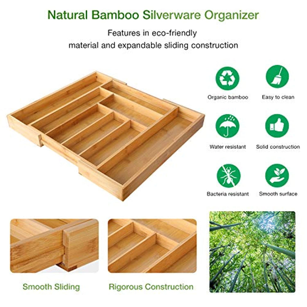 Bamboo Expandable Drawer Organizer for Utensils Holder, Adjustable Cutlery Tray, Wood Drawer Dividers Organizer for Silverware, Flatware, Knives in Kitchen, Bedroom, Living Room b