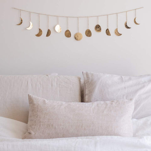Moon Decor Wall Decorations | Boho Accents Wall Decor | Moon Phases Wall Art  (Long Garland, Gold Metal)