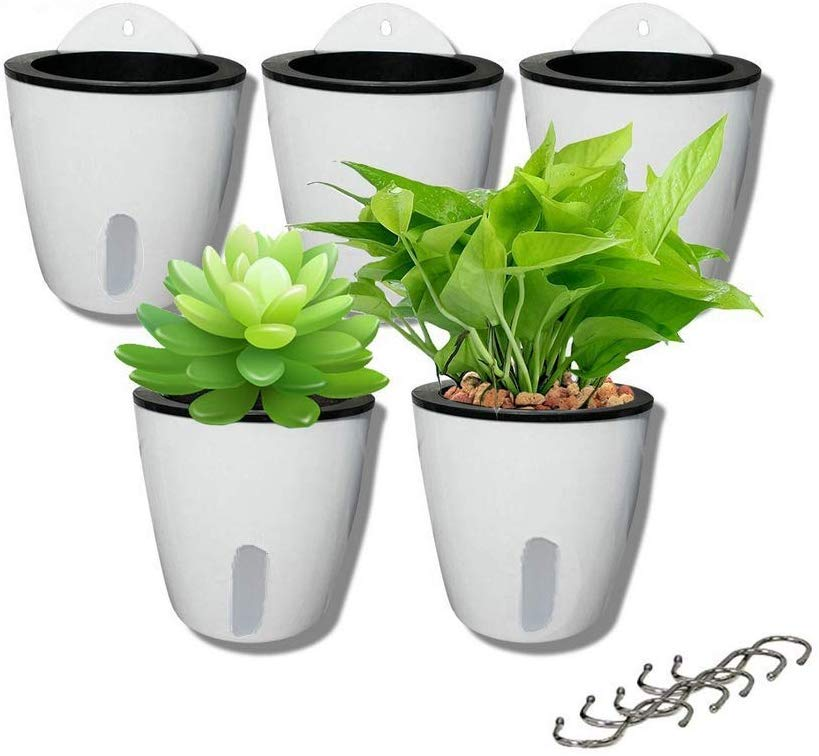 5 Pack  Self Watering Hanging Planters,Wall Mounted  with 5 Hooks