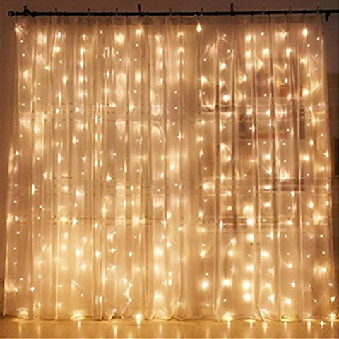 Twinkle Star 300 LED Window Curtain String Lights, Warm White