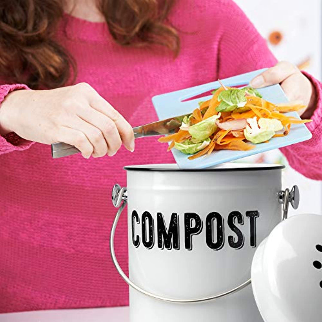 Stylish Farmhouse Kitchen Compost Bin - 100% Rust Proof w/Non Smell Filters - Easy Clean 1.3 Gallon Container Looks Fabulous on Your Kitchen Countertop