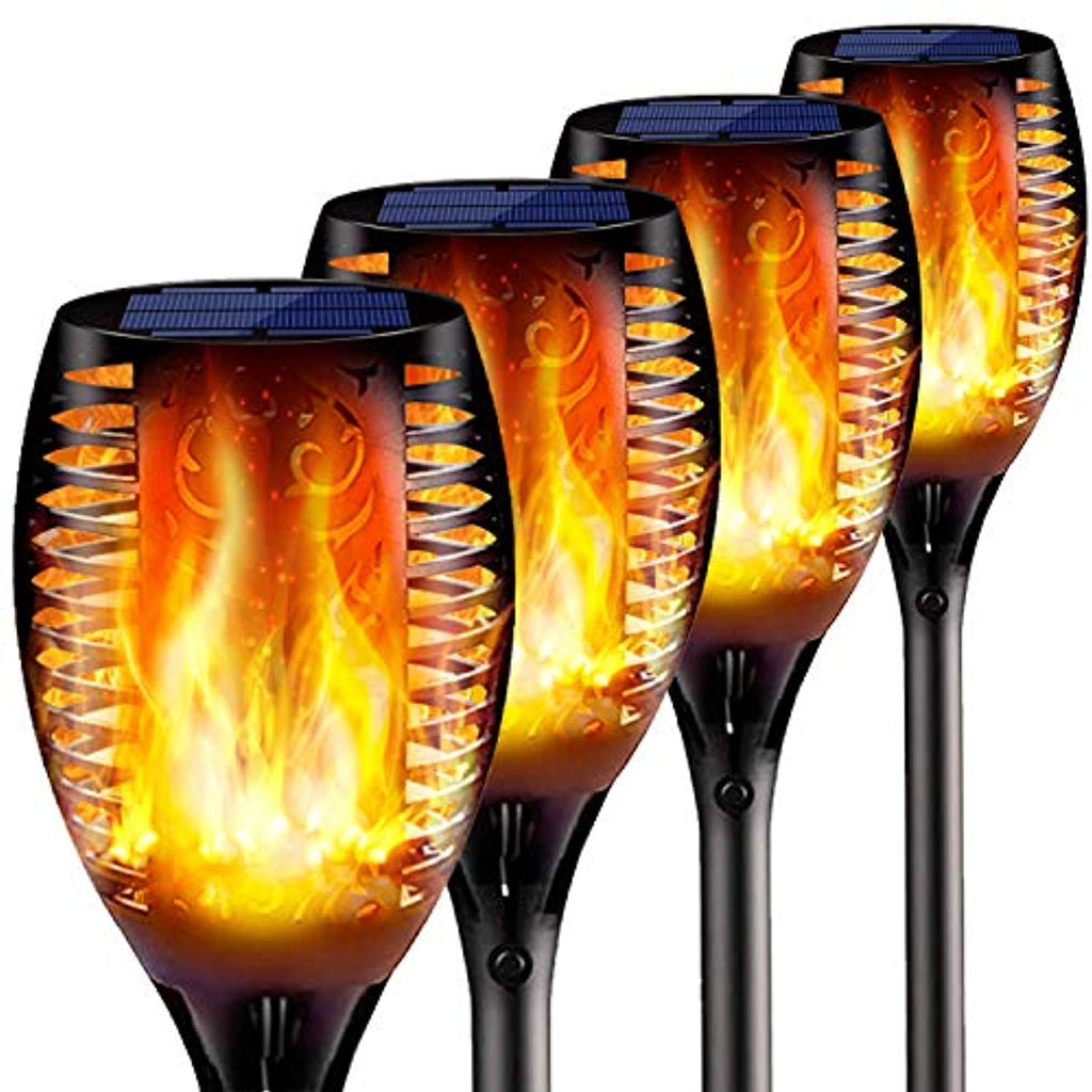 4PCs Solar Torch Lights Outdoor, 43 inch 96 LED, Waterproof Landscape Garden Pathway Light with Vivid Dancing Flickering Flames, with Auto On/Off Dusk to Dawn