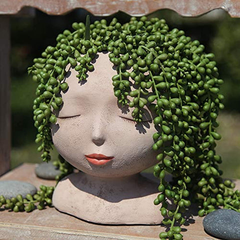 Female Head Design Succulents Plant Pot with Drainage Hole Indoor Outdoor Resin Planter