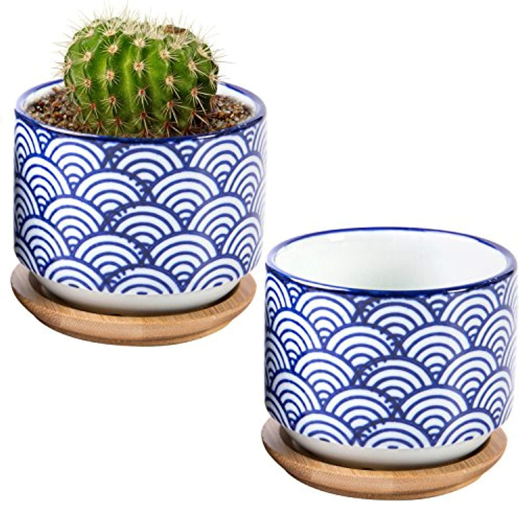 3-inch Japanese Style Ceramic Succulent Planter Pots with Bamboo Drip Tray, Set of 2