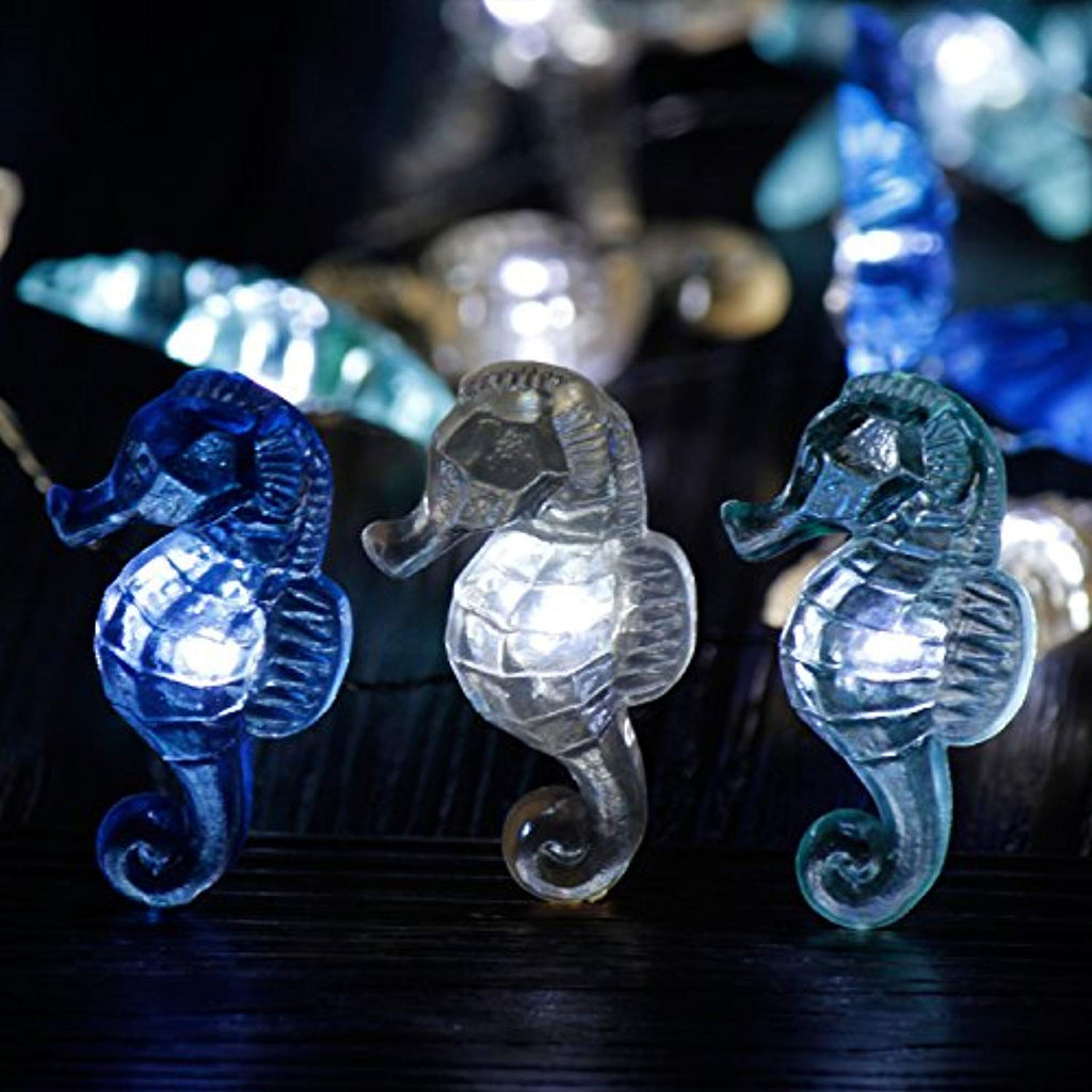 Nautical Theme Decorative String Lights, Under The Sea Sand Dollars Seahorse Beach