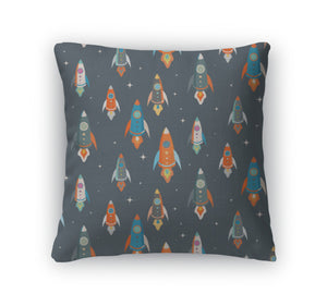 Throw Pillow, Pattern Of Colorful Spaceships