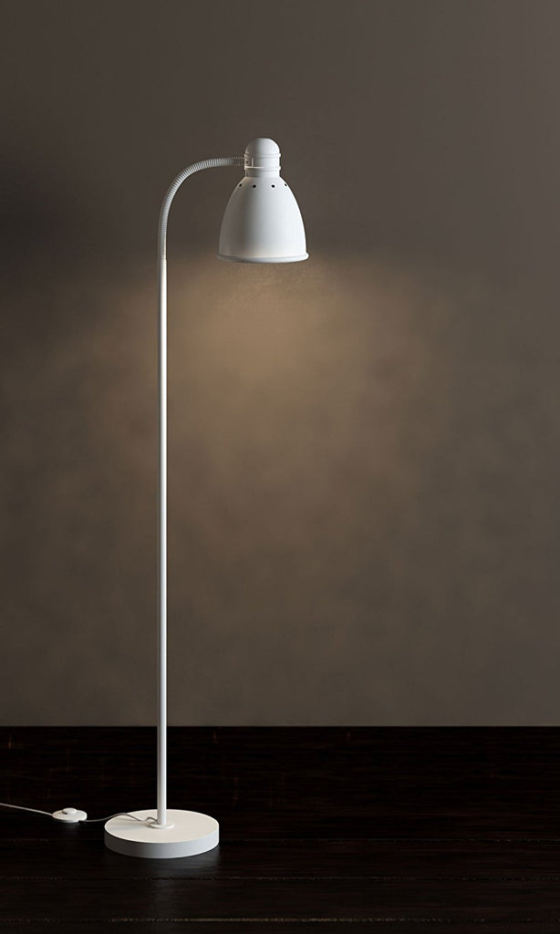 Adjustable Floor Lamp with Foot Control On Off Switch White