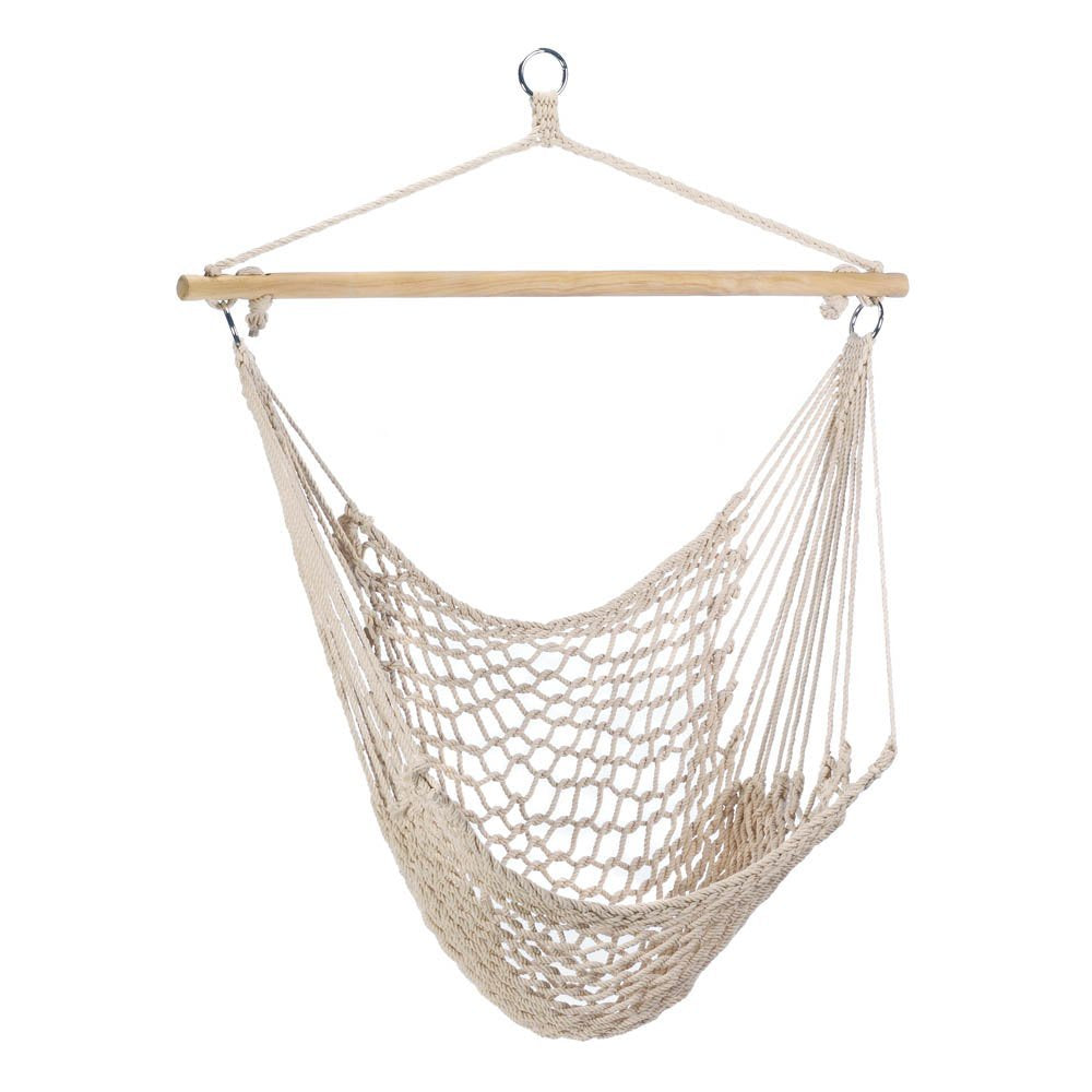 Cotton Rope Hammock Chair with Wood Stretcher