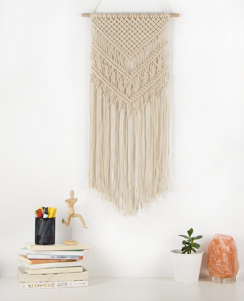 Macrame Woven Wall Hanging - Boho Chic Bohemian Home Geometric Art Decor