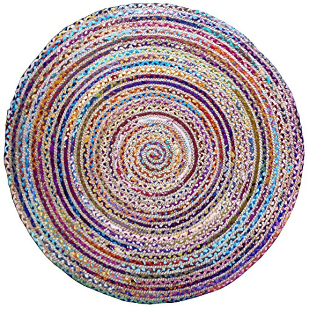 Cotton Craft Jute & Cotton Multi Chindi Braid Rug, Hand Woven Reversible, 6-Feet, Colors may Vary