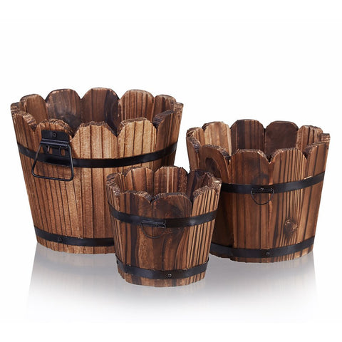 Wooden Rustic Barrel Planter, Set of 3-Small