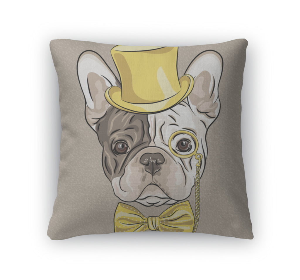 Throw Pillow, Funny Cartoon Hipster French Bulldog Dog