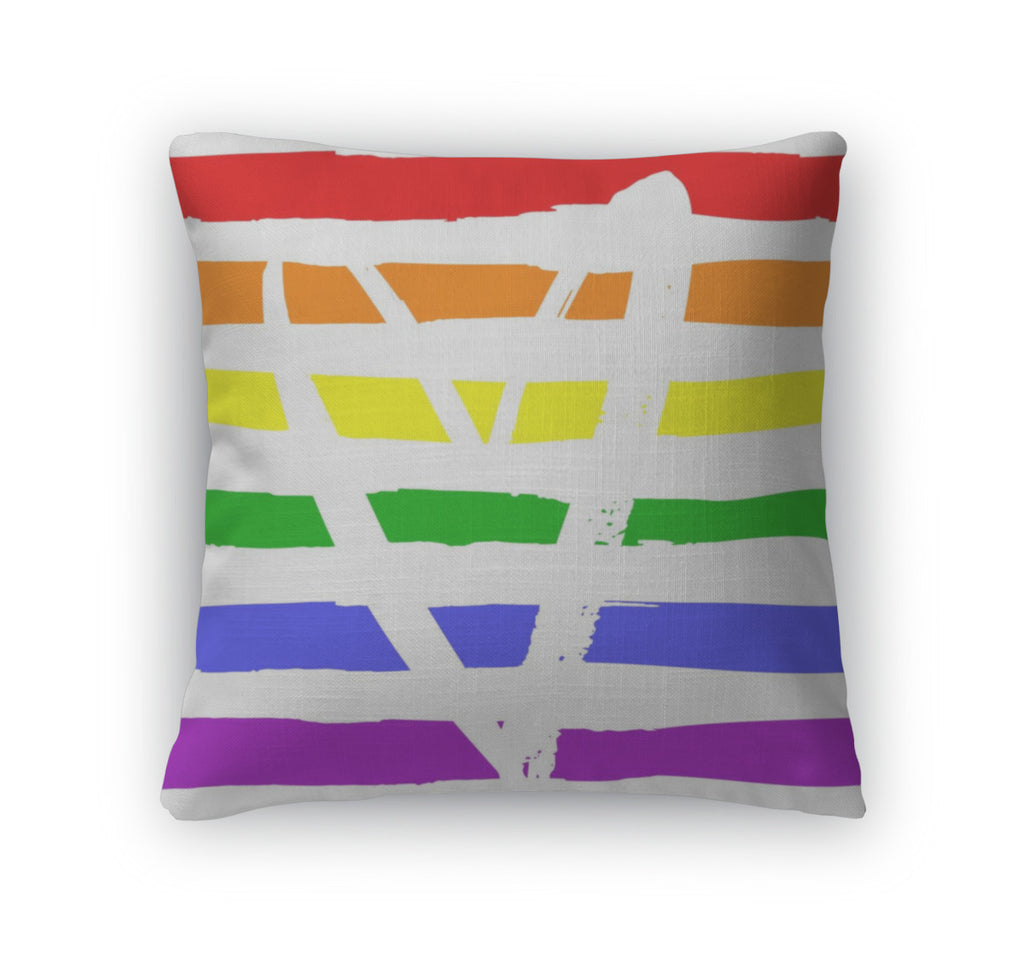 Throw Pillow, Lgbt Flag With Heart