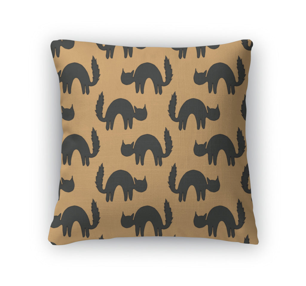 Throw Pillow, Black Scared Cats Animal Pattern Of Cat Silhouettes For Halloween