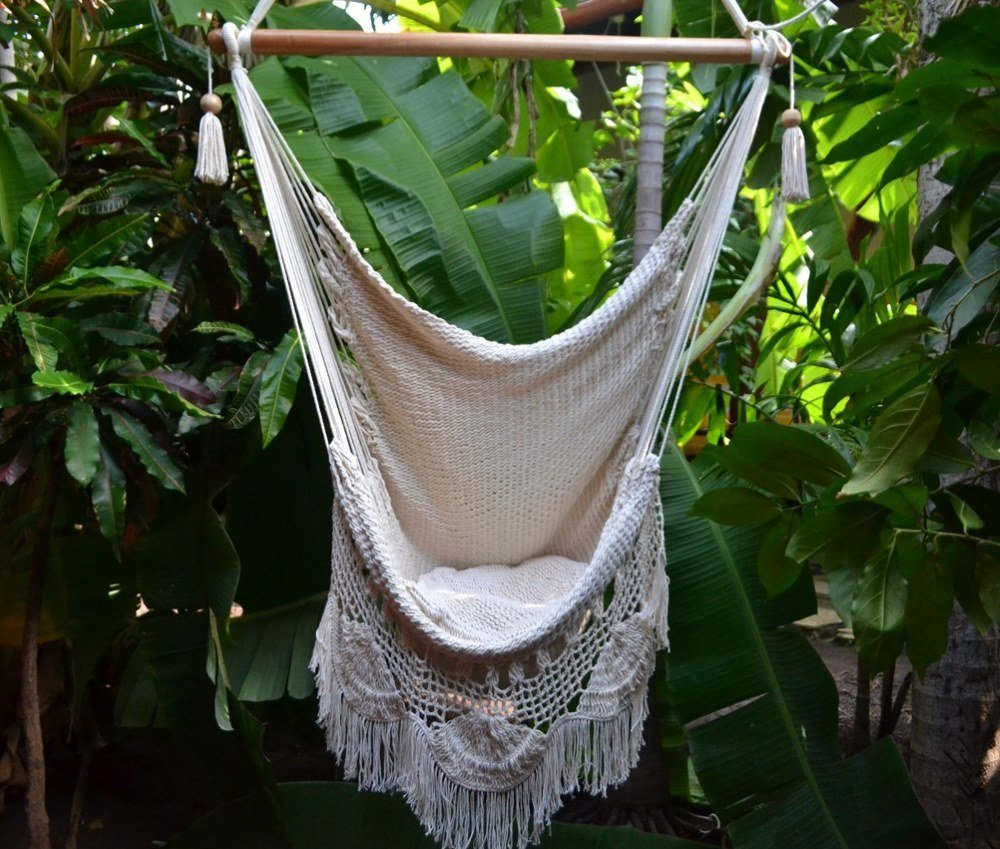 Handmade Hanging Rope Hammock Chair - All Natural Indoor or Outdoor Swing Chair (Off-White)