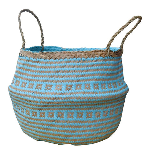 Natural and Plush Woven Seagrass Basket 3 Sizes