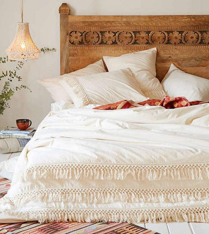 White Duvet Cover Fringed Cotton - Twin, Queen, King Sizes