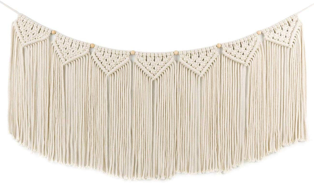 Macrame Woven Wall Hanging Curtain Fringe Garland Banner - BOHO Shabby Chic Bohemian Wall Decor -