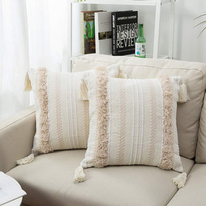 Boho Neutral Woven Tufted Fringed Pillow Covers (18X18 inch, Cream)