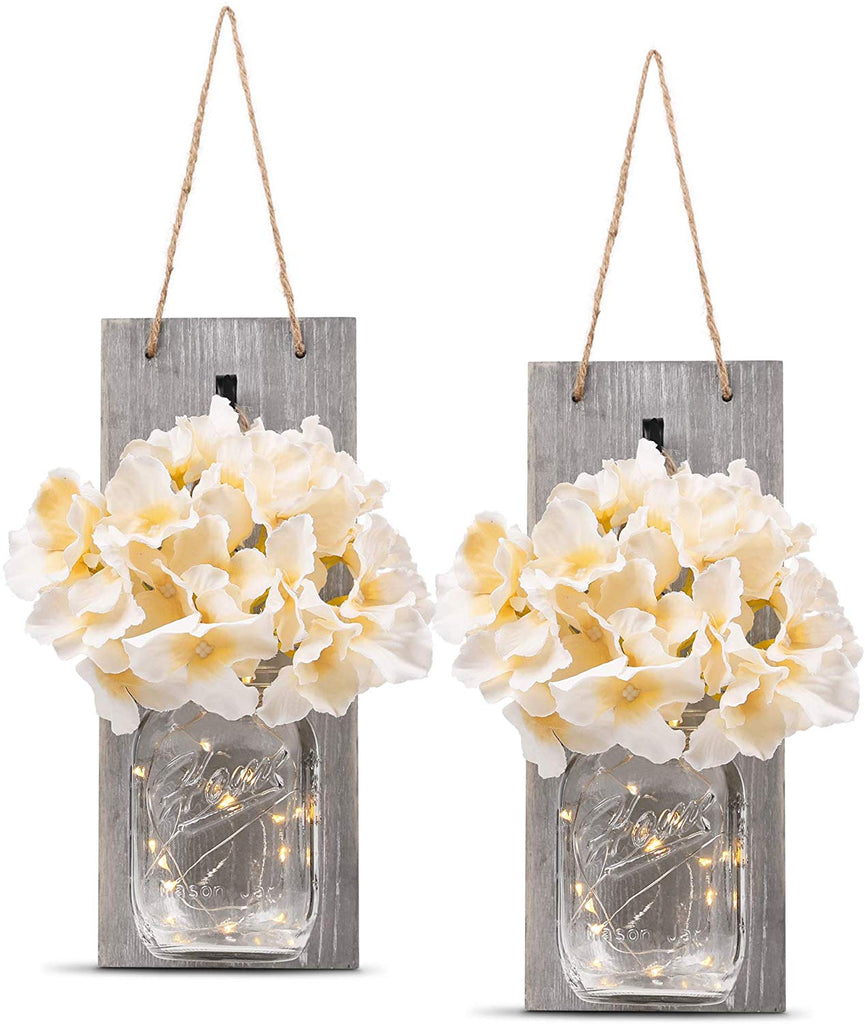 Decorative Mason Jar Wall Decor - Rustic Wall Sconces with 6-Hour Timer LED Fairy Lights and Flowers - (Set of 2)