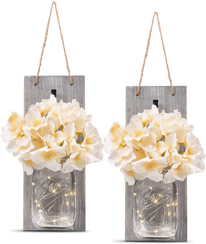 Decorative Mason Jar Wall Decor - with 6-Hour Timer LED Fairy Lights and Flowers - (Set of 2)