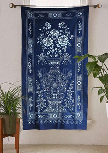 Flber Indigo Tie Dye Tapestry Wall Hanging Mudcloth Sofa Throw,44in x59in