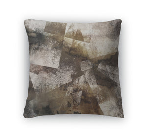 Throw Pillow, Art Abstract Acrylic And Pencil In White Grey Brown