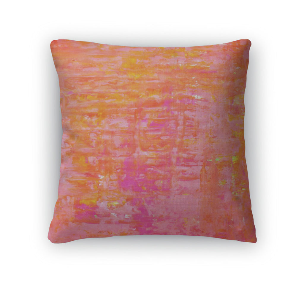 Throw Pillow, Orange And Pink Abstract Art Painting